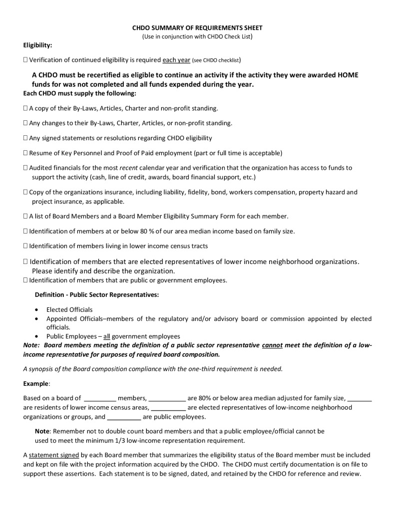 thumbnail of CHDO SUMMARY OF REQUIREMENTS check list